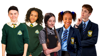 Characters from The 4 o'clock Club, The Worst Witch and So Awkward in their school uniforms.