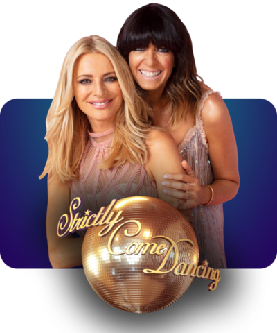 Tess and Claudia from Strictly Come Dancing with the show's logo.