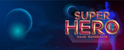 "A dark, deep space background with contrasting red and blue. There is a red silhouette of a female hero on one side and a blue silhouette of a male hero on the other. In the middle is epic superhero text that says ""Super Hero Name Generator"""