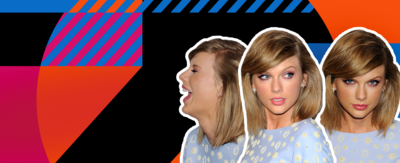 Taylor Swift is in three images, smiling and laughing.