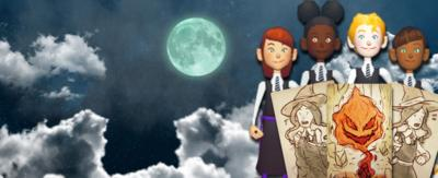3D characters from The Worst Witch Enchanted Stones game, with three cards, with a sky background and a full moon.