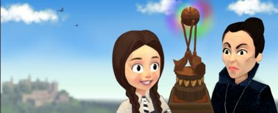 Game graphic of Mildred Hubble, a young witch standing looking at a brown trophy. Miss Hardbroom, an older witch, is also standing looking at the trophy.
