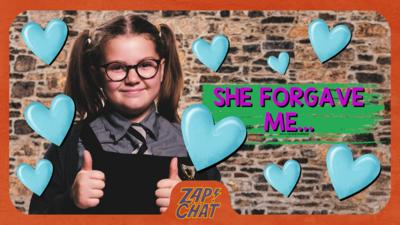Girl in school uniform with thumbs up. Maud from The Worst Witch.