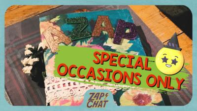 Book with 'Azap' written on in glittery letters. Text on image reads 'Special occasions only'.