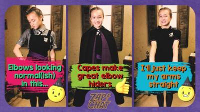 3 different poses from a girl in school uniform looking uncomfortable. One wearing a cape. Felicity Foxglove from The Worst Witch.