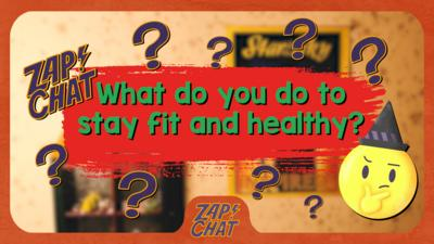 """Text reading """"How do you stay fit and healthy?""""."""
