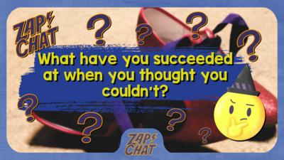 Red shoes with text over the image 'What have you succeeded at when you thought you couldn't?'.