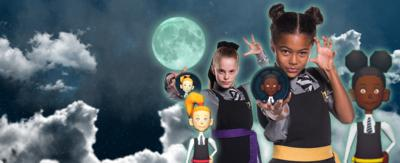 A young girl with bunches and a school uniform, Enid, is holding an in-game icon of herself - next to her is the full in-game version of her. Behind that is another young girl in a school uniform with a ponytail, Ethel is doing the same thing stood next to her in-game character. They are on a night sky backdrop with a full moon.