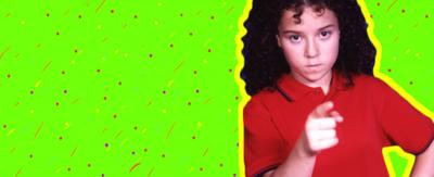 Tracy Beaker pointing her finger straight ahead