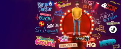 CBBC HQ Show Stoppers. Joe on stage with a red curtain looking shocked, surrounded by CBBC Show logos.