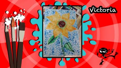 A user's Art Ninja creation, this is a sunflower dotted painting.