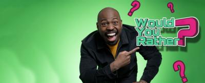 Would you rather page with presenter Darren Harriott pointing to the Would You Rather Logo.