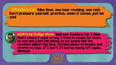 Pandora Cat comment reads take time, one hour revising, one rest. don\u2019t pressure yourself, practice; when it comes, just be you! ;]  Indigo Mood reply reads Well met, Pandora Cat. I think that\u2019s where I went wrong. I tried to revise for hours on end and I just fell asleep on my books! Not the comfiest pillow! This time, I\u2019ll take plenty of breaks and stretch my legs. If I don\u2019t, I\u2019ll end up dozing off again\u2026 Whoops!