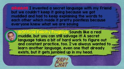 Zapchat replies: Rabbit8: I invented a secret language with my friend but we couldn't keep it going because we got muddled and had to keep explaining the words to each other which made it pretty pointless because everyone knew what we are saying  Official Felicity Foxglove: Hi Rabbit8, Sounds like a real muddle, but you can still salvage it! A secret language takes a bit of hard work to figure out and constant practice, too. I\u2019ve always wanted to learn another language, even one that already exists, but it gets jumbled up in my head.