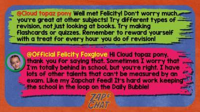 Zapchat replies: Cloud topaz pony: Well met Felicity! Don't worry much, you're great at other subjects! Try different types of revision, not just looking at books. Try making flashcards or quizzes. Remember to reward yourself with a treat for every hour you do of revision! Official Felicity Foxglove: Hi Cloud topaz pony, thank you for saying that. Sometimes I worry that I\u2019m totally behind in school, but you\u2019re right. I have lots of other talents that can\u2019t be measured by an exam. Like my Zapchat feed! It\u2019s hard work keeping the school in the loop on the Daily Bubble!