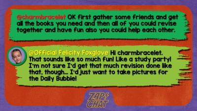 Zapchat replies: charmbracelet: OK first gather some friends and get all the books you need and then all of you could revise together and have fun also you could help each other. Official Felicity Foxglove: Hi charmbracelet, that sounds like so much fun! Like a study party! I\u2019m not sure I\u2019d get that much revision done like that, though\u2026 I\u2019d just want to take pictures for the Daily Bubble!