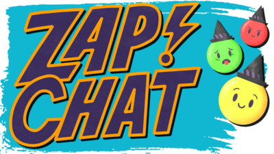 Text: Zapchat in purple with yellow outline. Emojis on right.