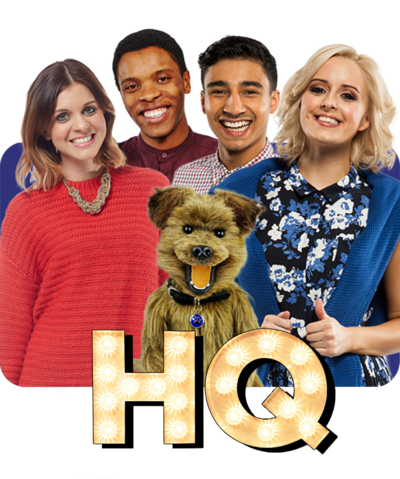 CBBC HQ Brand Image with logo and all HQ Presenters. Lauren, Rhys, Karim, Katie and Hacker.