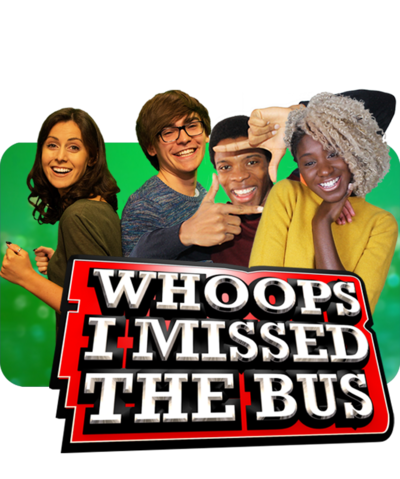 Whoops I missed the Bus Brand Images for website- with Myles, Laura, Teecee and Rhys and the Whoops branding