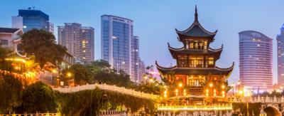 An Asian cityscape.