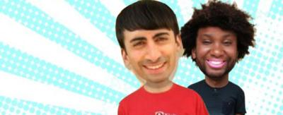 All Over the Place presenters with their faces swapped.