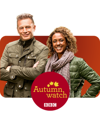 Two autumn watch presenters and the logo on a red background