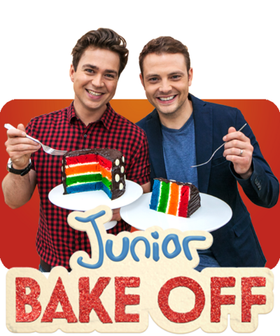 Sam and Mark hold two pieces of brightly coloured rainbow cake on a plate.