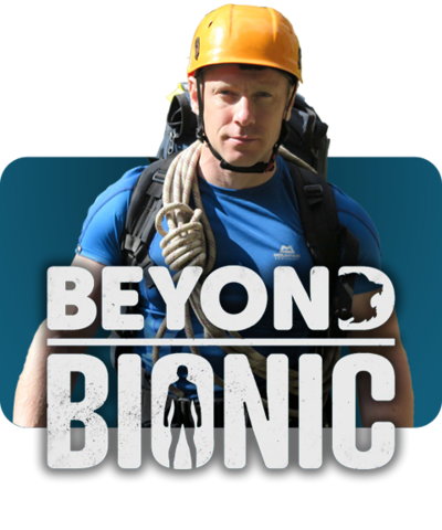 Beyond Bionic logo and the presenter dressed in climbing gear.
