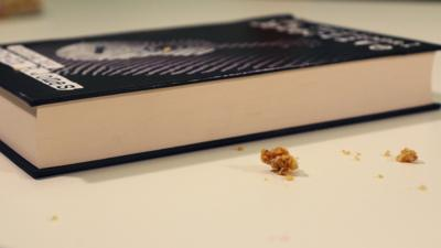 A book covered in crumbs.