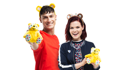 Richie and Lindsey with Pudsey toys.
