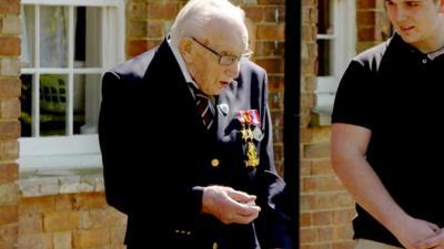 Blue Peter - Captain Sir Tom Moore receives his Gold badge