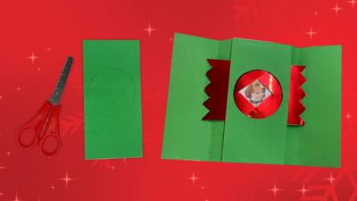 Green Christmas card with henry the dog on it.