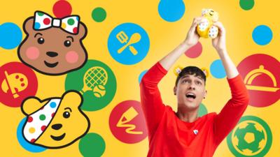 Richie holding up a Pudsey toy, surrounded by colourful dots.