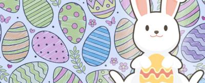 A bunny sat with easter eggs.