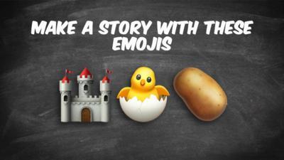 Emoji story writing game. Castle, chick, potato.