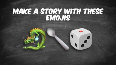 Make a story with: Dragon, spoon, dice.