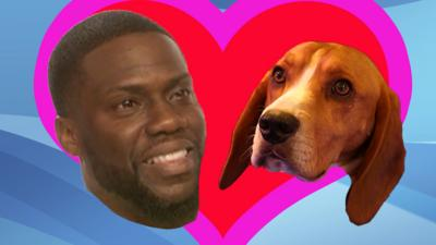 Henry the dog and Kevin Hart in a giant heart.
