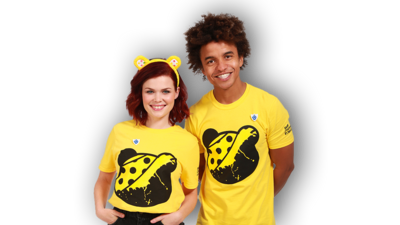 Lindsey and Radzi wearing Children in Need t-shirts and Pudsey Bear ears.