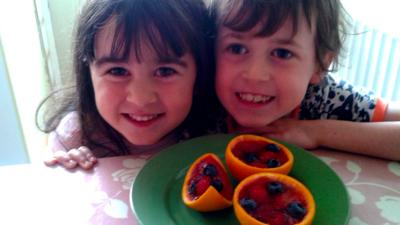 Aled and Eirlys with their jelly fruit slices