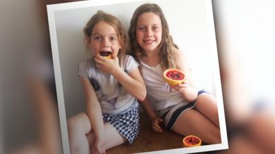 Ava and Nancy with their jelly fruit slices