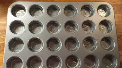 An empty cupcake tin