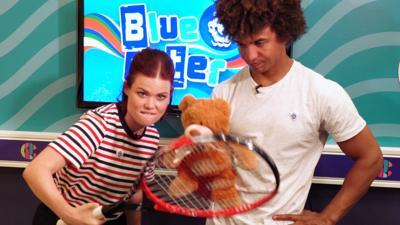 Blue Peter - Linds and Radzi play Teddy Tennis