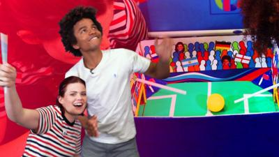 Blue Peter - Linds and Radzi play blow football