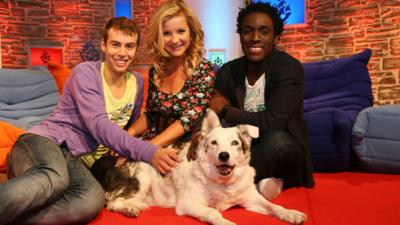 Joel, Helen and Andy with Mabel the Dog