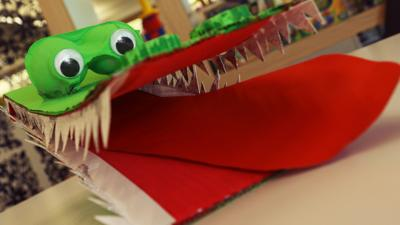 A fan made crocodile made from card.