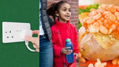 Plug socket, kid with water bottle, jacket potato