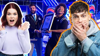 Radzi getting a world record and Richie and Lindsey look shocked.