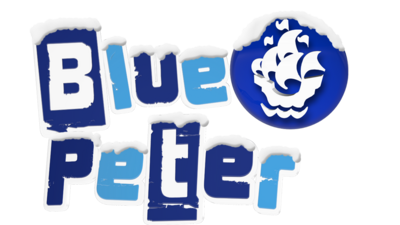 Blue Peter branding with snow