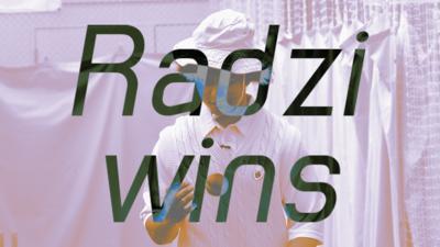 """""""Radzi wins"""" \u2013 Radzi throwing a cricket ball"""