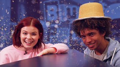 """Blue Peter - Lindsey and Radzi play """"What's in the hat?"""""""